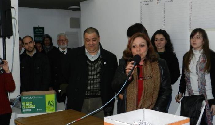 Ana Olivera y Francisco Fleitas en el sorteo del Plan Lote