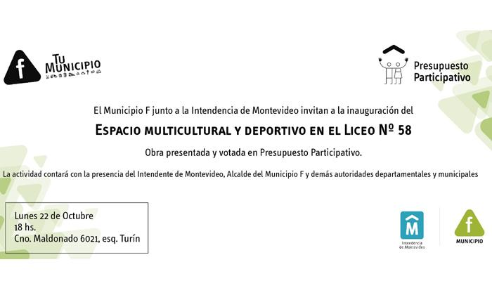 Invitación a inauguración en Liceo nº58
